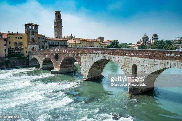 Ponte Pietra bridge on Adige river in the ancient city of Verona, Venito, Italy