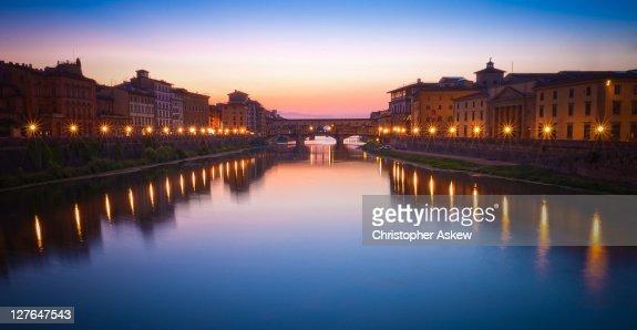 Ponte Vecchio Bridge At Night Stock Photo | Getty Images