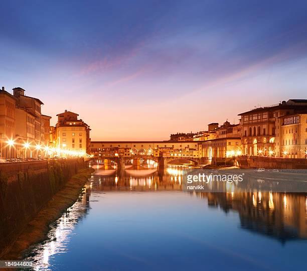 Ponte Vecchio bridge in Florence at sunset