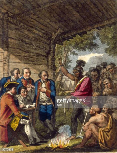 Pontiacan Ottawa Indian confronts Colonel Henry Bouquet who authorised his officers to spread smallpox amongst native Americans by deliberately...