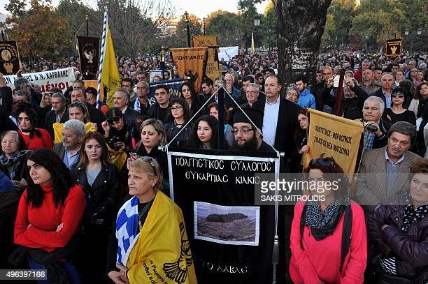 Pontic Greeks who originate mainly from the region of Pontus on the shores of the Black Sea gather during a protest in Thessaloniki northern Greece...
