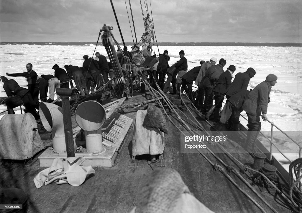 H,G Ponting, Captain Scott+s Antarctic Expedition 1910 - 1912, 9th December, 1910, Crew members looking out over the pack ice from the rear of the Terra Nova ship