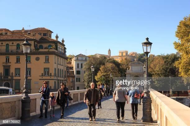Ponto Sisto Bridge in Trastevere neighborhood Rome Italy