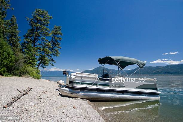 Pontoon on lake