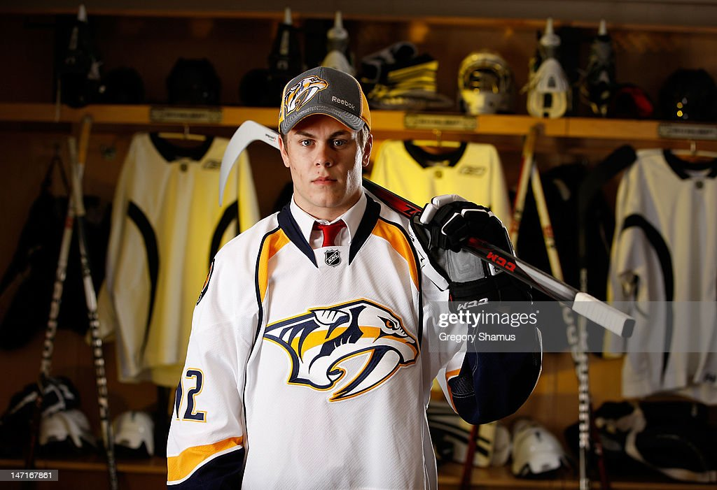 Pontus Aberg, 37th overall pick by the Nashville Predators, poses for a portrait during the 2012 NHL Entry Draft at Consol Energy Center on June 23, 2012 in Pittsburgh, Pennsylvania.