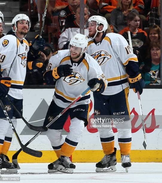 Pontus Aberg of the Nashville Predators celebrates his third period goal during the game against the Anaheim Ducks in Game Five of the Western...