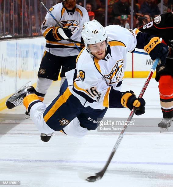 Pontus Aberg of the Nashville Predators releases a shot in Game Two of the Western Conference Final against the Anaheim Ducks during the 2017 NHL...
