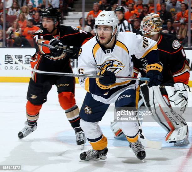 Pontus Aberg of the Nashville Predators skates against the Anaheim Ducks in Game Five of the Western Conference Final during the 2017 NHL Stanley Cup...
