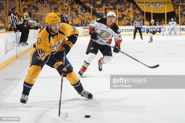 Pontus Aberg of the Nashville Predators skates against the Anaheim Ducks in Game Six of the Western Conference Final during the 2017 NHL Stanley Cup...