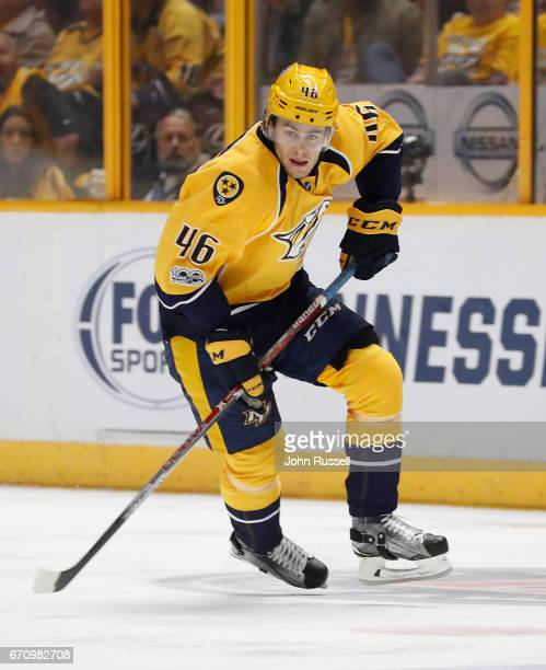 Pontus Aberg of the Nashville Predators skates against the Chicago Blackhawks in Game Three of the Western Conference First Round during the 2017 NHL...