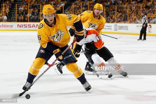 Pontus Aberg of the Nashville Predators skates against the Philadelphia Flyers during an NHL game at Bridgestone Arena on October 10 2017 in...