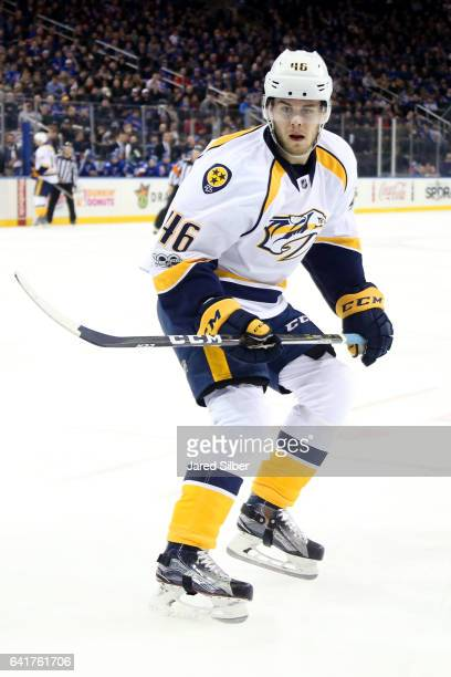 Pontus Aberg of the Nashville Predators skates against the New York Rangers at Madison Square Garden on February 9 2017 in New York City The New York...