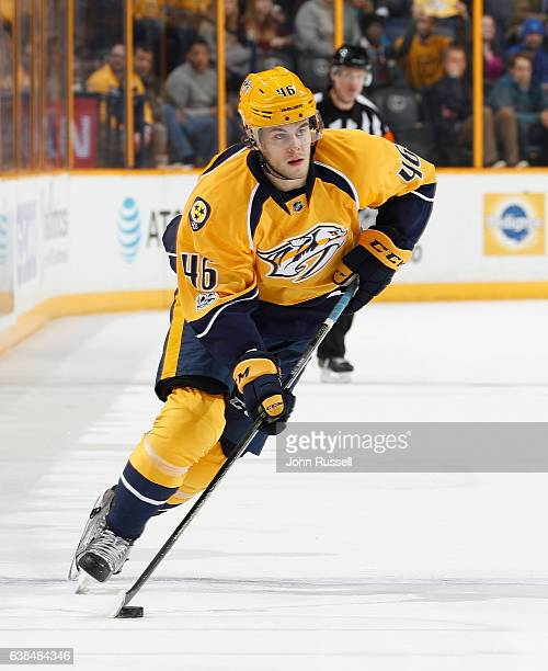 Pontus Aberg of the Nashville Predators skates against the Vancouver Canucks during an NHL game at Bridgestone Arena on January 10 2017 in Nashville...