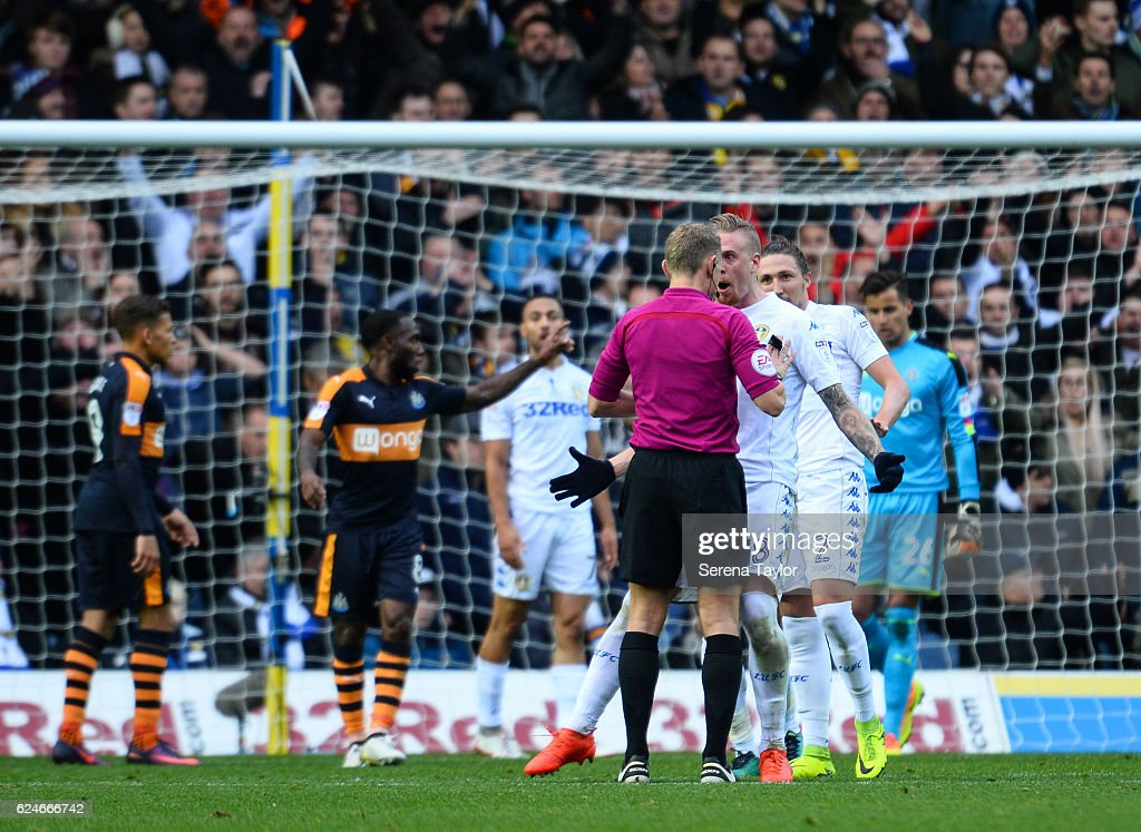 Pontus Jansson of Leeds United (18) squares up to Refereee Graham Scott after disagreeing with a decision during the Sky Bet Championship Match between Leeds United and Newcastle United at Elland Road on November 20, 2016 in London, England.