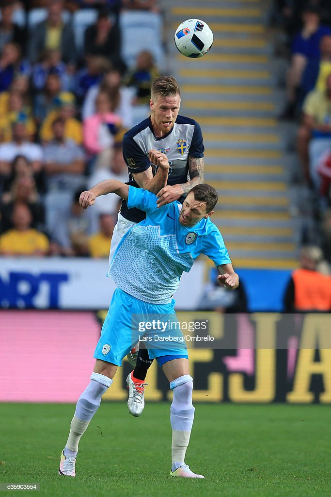 Pontus Jansson of Sweden during the international friendly match between Sweden and Slovenia on May 30, 2016 in Malmo, Sweden.