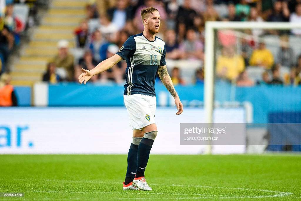 Pontus Jansson of Sweden during the international friendly match between Sweden and Slovenia May 30, 2016 in Malmo, Sweden.