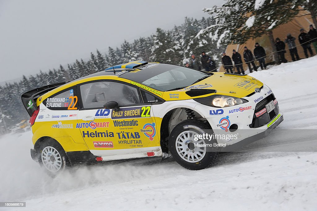 Pontus Tidemand of Sweden and Ola Floene of Norway compete in their Ford Fiesta RS WRC during Day One of the WRC Sweden on February 08 , 2013 in Karlstad , Sweden.