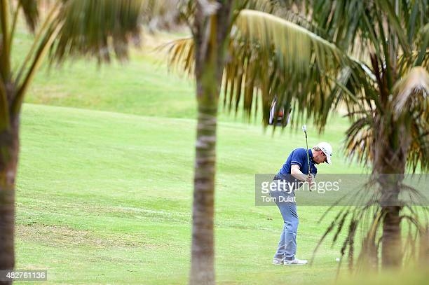 Pontus Widegren of Sweden chips onto the 16th green during day four of the Madeira Islands Open Portugal BPI at Club de Golf do Santo da Serra on...