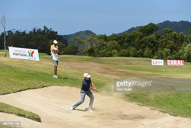 Pontus Widegren of Sweden plays out the bunker on the 17th hole during day four of the Madeira Islands Open Portugal BPI at Club de Golf do Santo da...