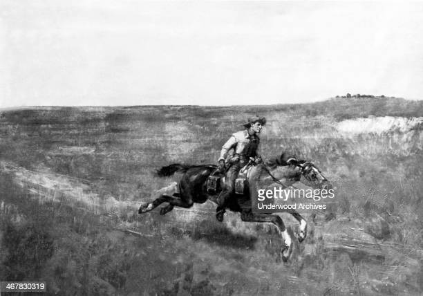 A Pony Express rider crossing the plains 1860 The Pony Express operated for a very short time between April 1860 October 1861 and carried the mail...