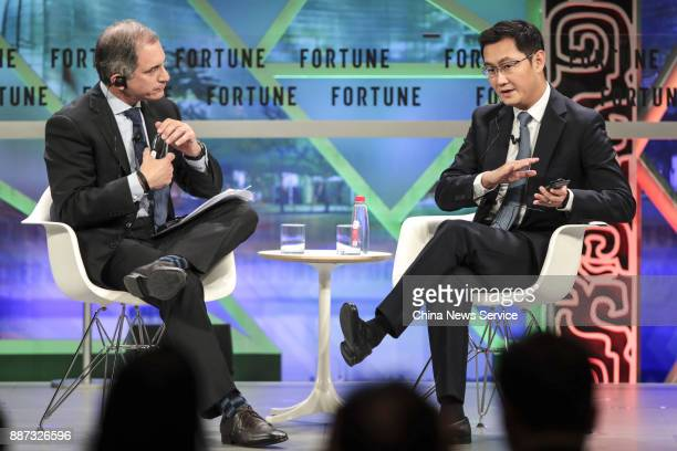 Pony Ma cofounder and chairman of the Board and CEO of Tencent speaks at a plenary session during the 2017 Fortune Global Forum on December 6 2017 in...