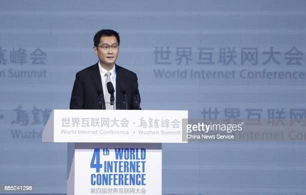 'Pony' Ma Huateng chairman and chief executive officer of Tencent Holdings Ltd speaks during opening ceremony of the 4th World Internet Conference on...
