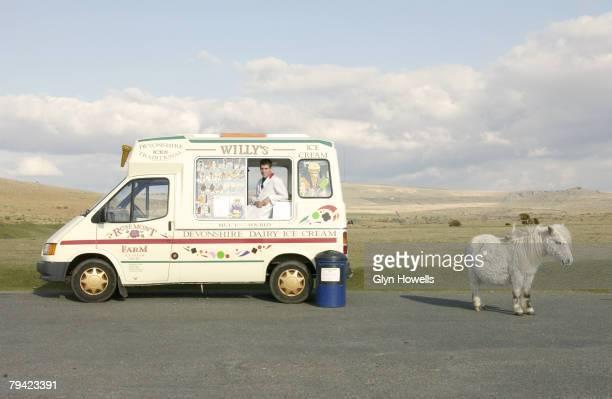 A pony stands next to an ice cream van on Dartmoor circa 2000