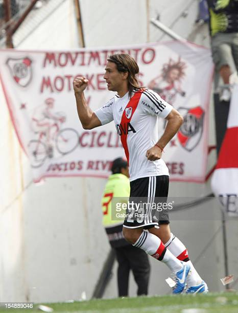 Ponzio of River Plate celebrates a scored goal against Boca Juniors during a match between River Plate and Boca Juniors as part of the Torneo Inicial...