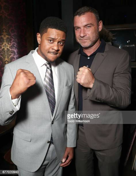 Pooch Hall and Liev Schreiber attend the Premiere Of IFC Films' 'Chuck' at ArcLight Cinemas on May 2 2017 in Hollywood California