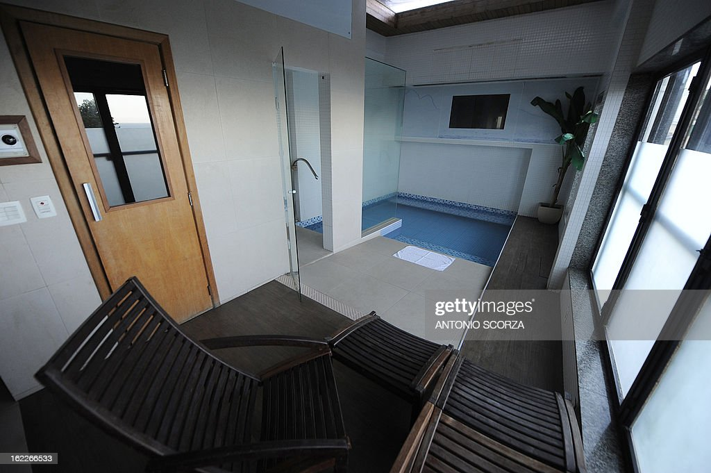A pool adjacent to a room is seen at a 'love hotel' in Rio de Janeiro, Brazil on February 21, 2013. Love hotels are being reformed into regular hotels in an effort to meet the demands expected during the FIFA World Cup Brazil 2014.