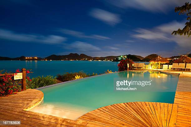 Pool And Caribbean Sea At Night