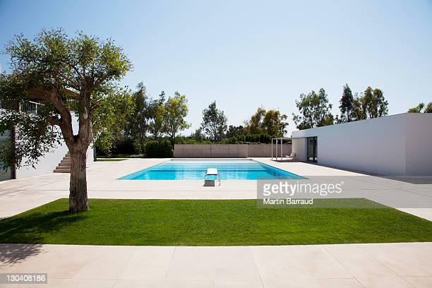 Pool and courtyard outside modern house