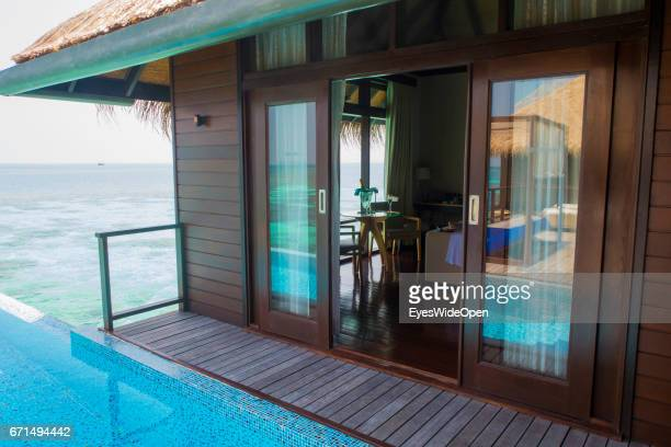 Pool and LivingRoom of a Water Villa at Coco Bodu Hiti NorthMaleAtoll on February 23 2017 in Male Maldives