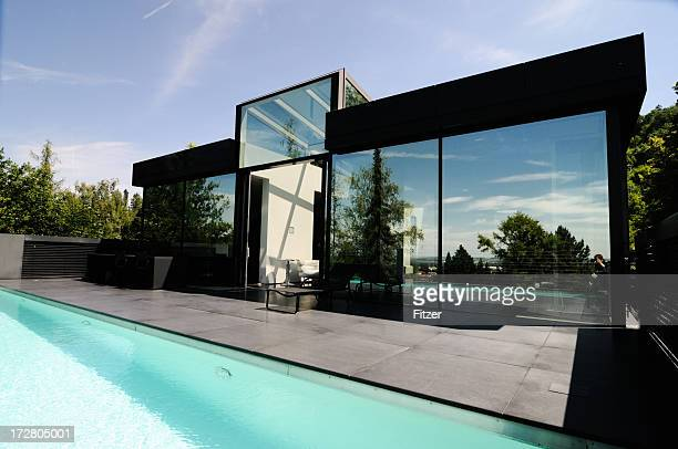 pool and modern granite home