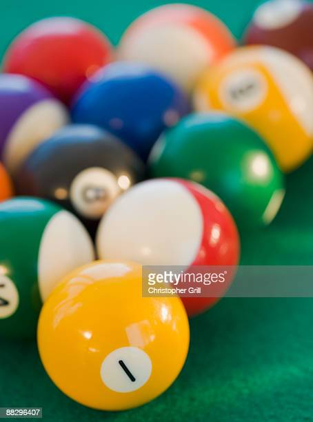 Pool balls in a row