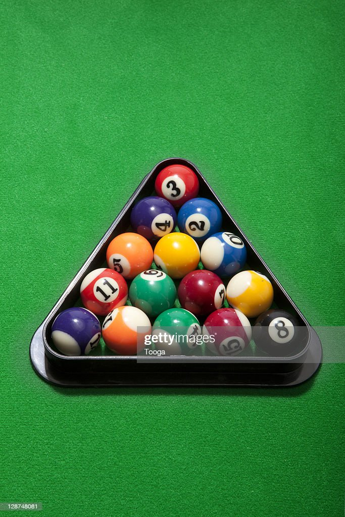 Pool balls in rack : Stock Photo
