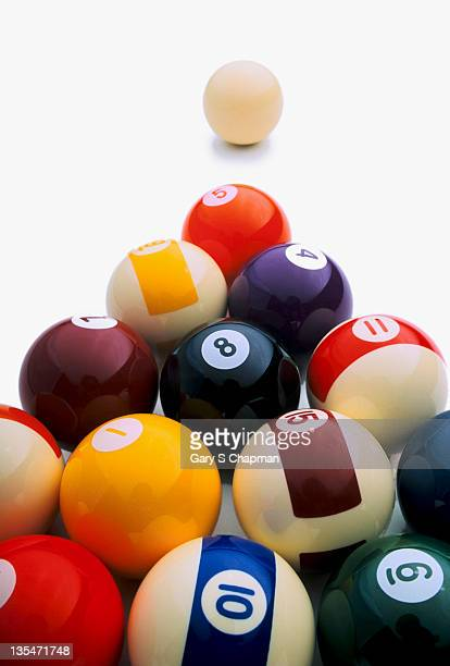 Pool balls on white