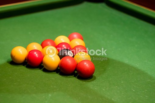 Pool Balls Set Up On A Pool Table Taken At An Angle Stock Photo - How do you set up a pool table