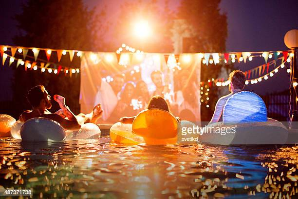 Pool movie night party.
