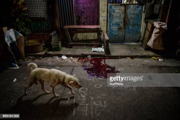 A pool of blood remains at the gutter where an alleged drug user was killed by unidentified assailants in Manila Philippines September 16 2017 On...