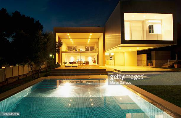 Pool outside modern house at night