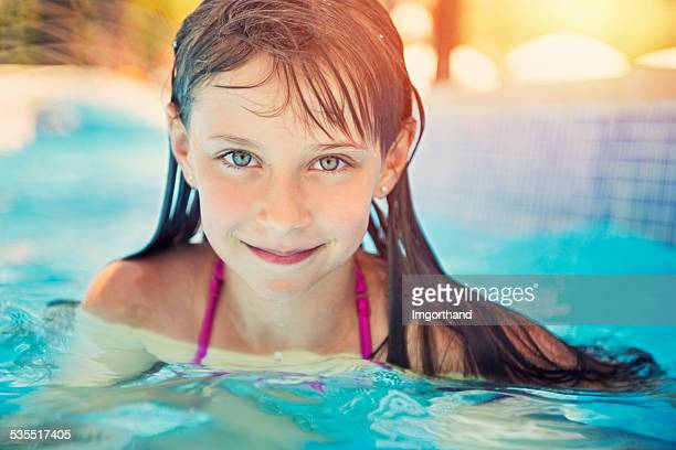 Pool portrait of a pretty little girl