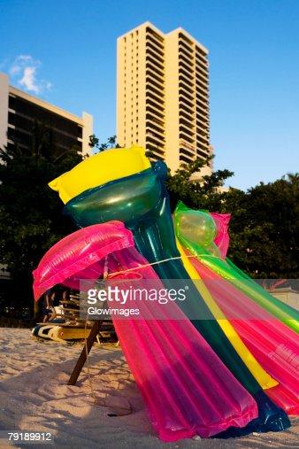 Pool rafts on the beach, Waikiki Beach, Honolulu, Oahu, Hawaii Islands, USA : Stock Photo