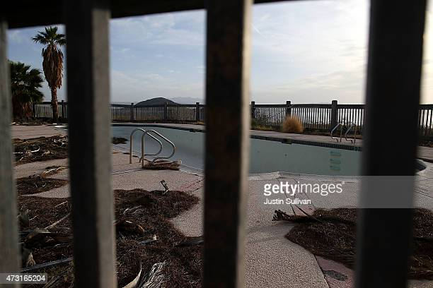 A pool stands empty at an abandoned hotel at Lake Mead near Boulder Beach on May 13 2015 in Lake Mead National Recreation Area Nevada As severe...