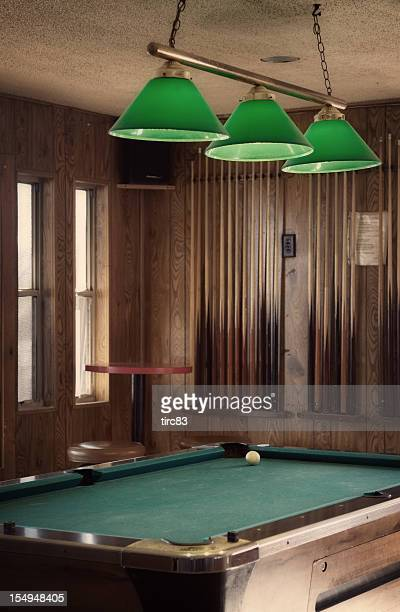 Pool table and lampshades