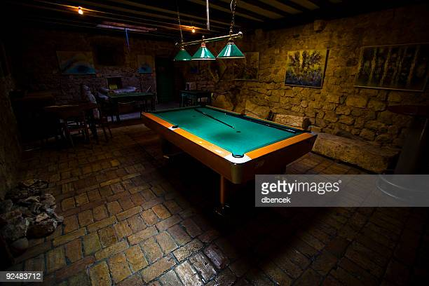 Pool Table in a Dark Basement