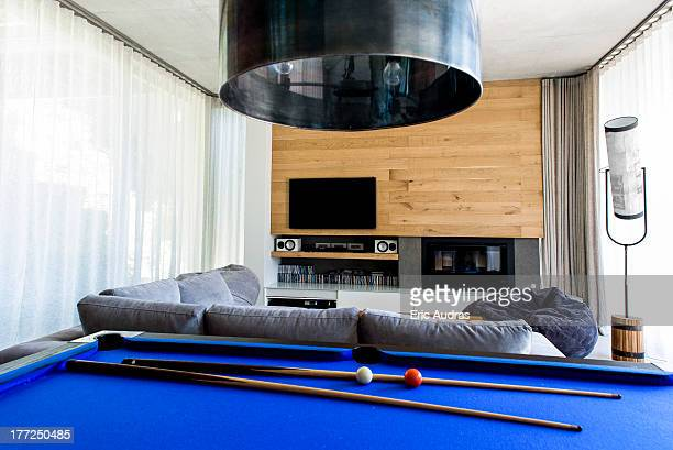 Pool table in a living room