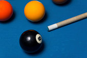 Close-Up Of Pool Balls On A Blue Pool Table - Shallow DOF