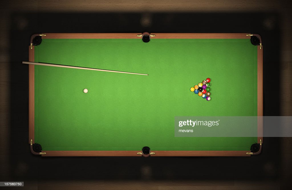 a pool table with untouched balls