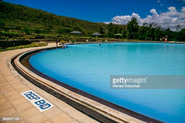 A pool with geothermal water in the KenGen or Kenya General Energy Olkaria geothermal power station area in Hells´s Gate National Park on October 08...